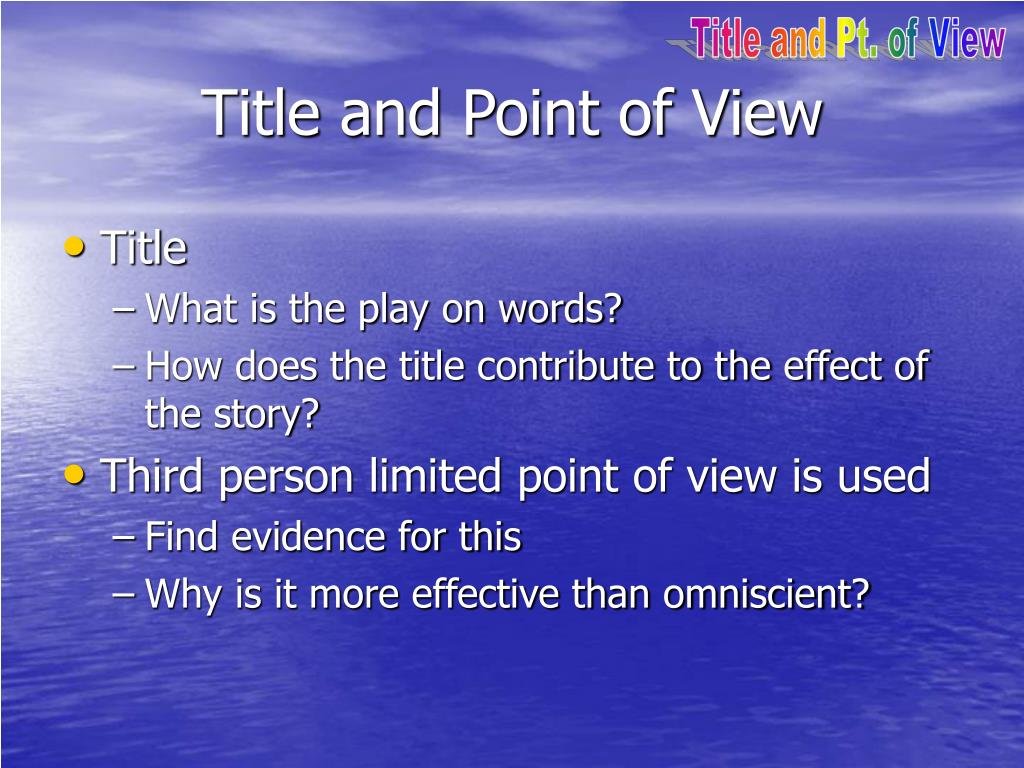 Title and Pt. of View