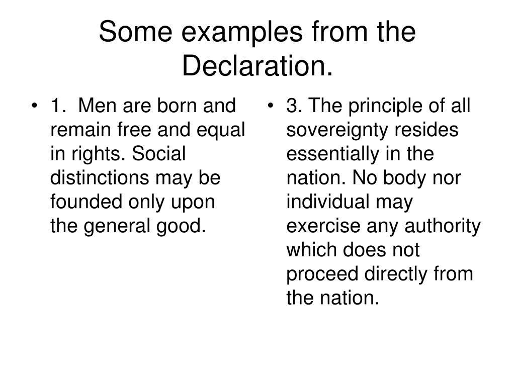 1. Men are born and remain free and equal in rights. Social distinctions may be founded only upon the general good.