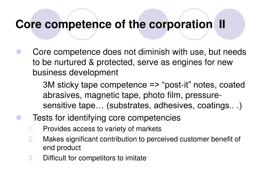Core competence of the corporation  II