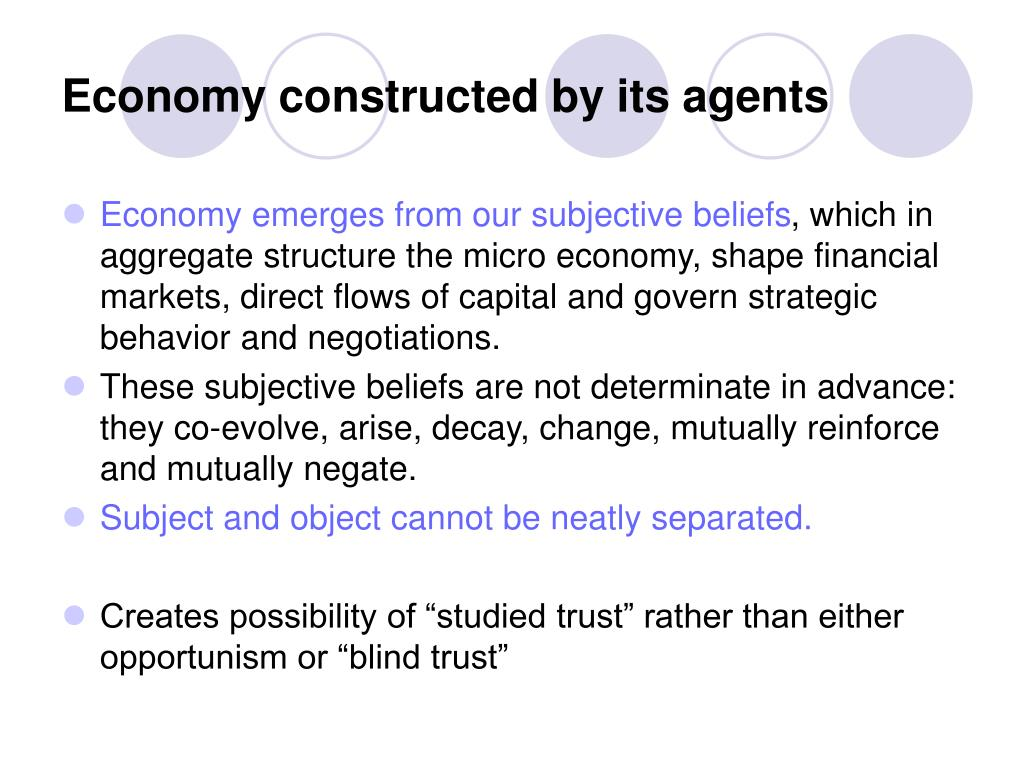 Economy constructed by its agents