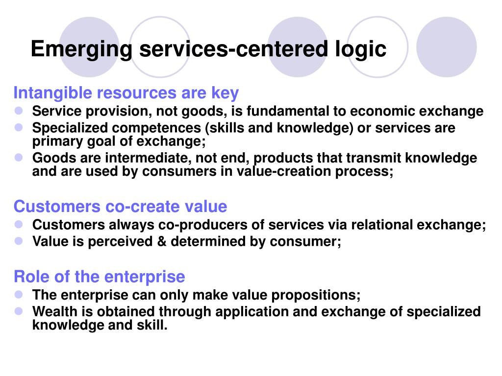 Emerging services-centered logic