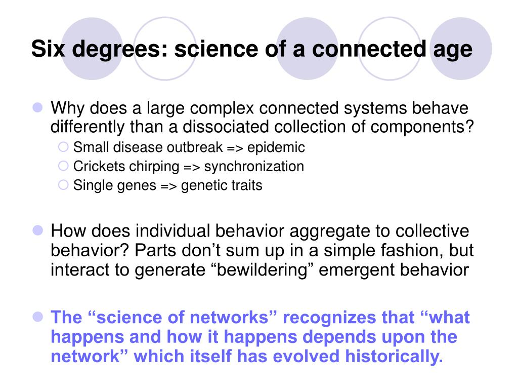 Six degrees: science of a connected age