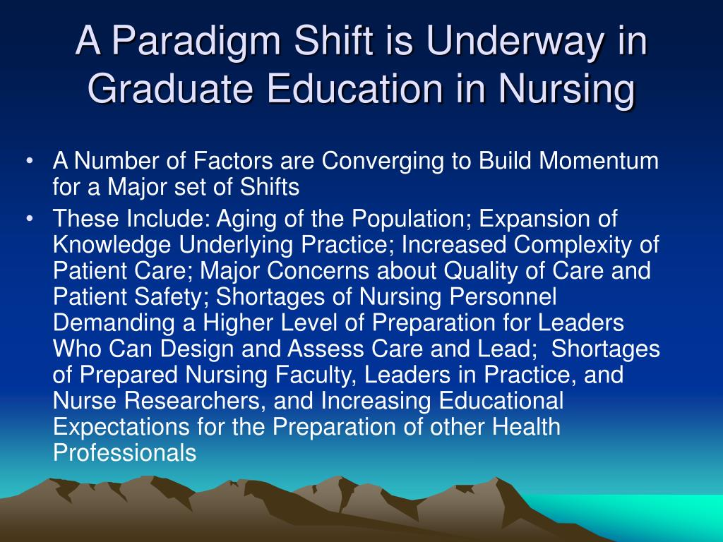 A Paradigm Shift is Underway in Graduate Education in Nursing