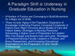a paradigm shift is underway in graduate education in nursing