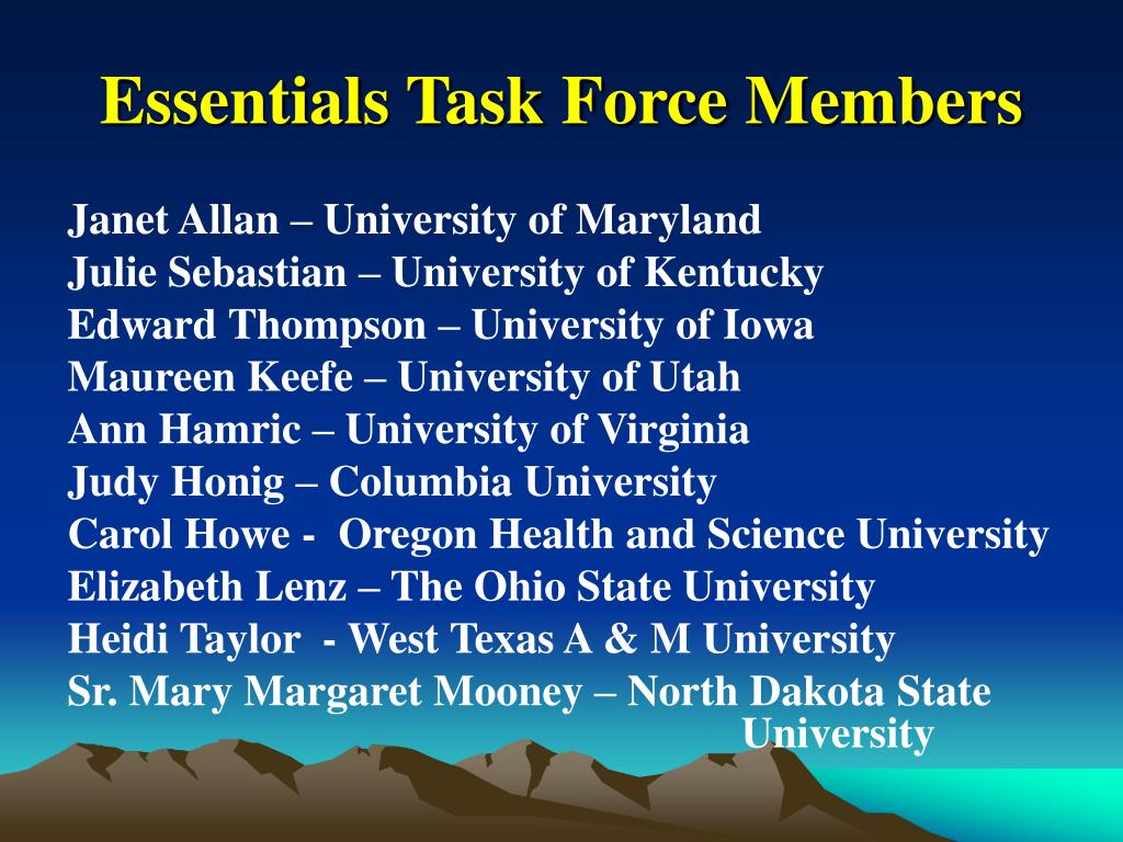 Essentials Task Force Members