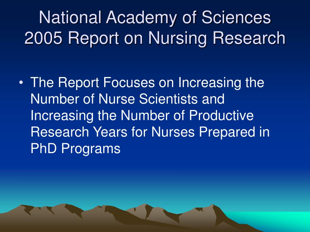 National Academy of Sciences 2005 Report on Nursing Research