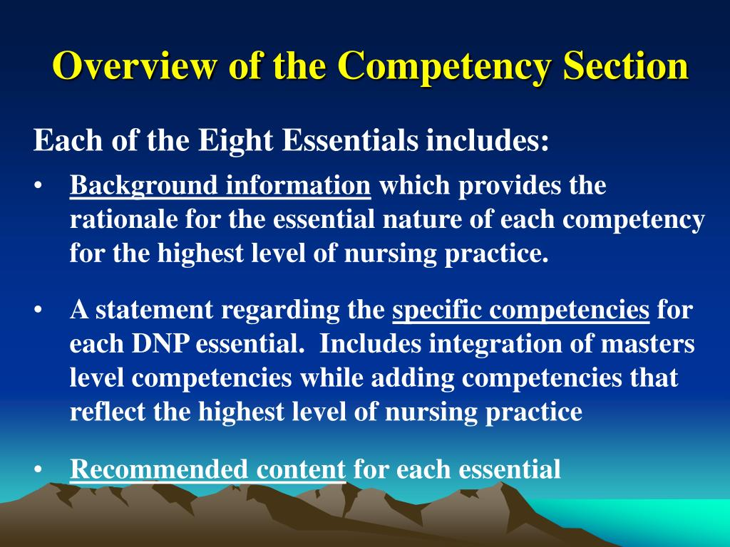 Overview of the Competency Section