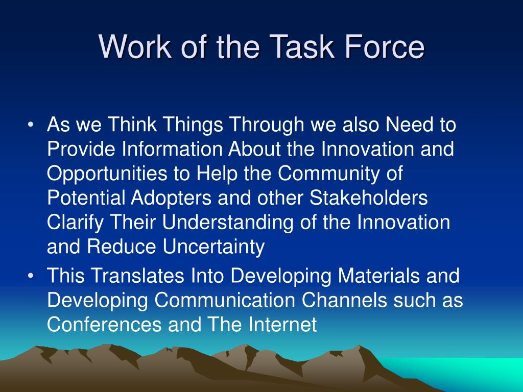 Work of the Task Force