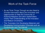 work of the task force30