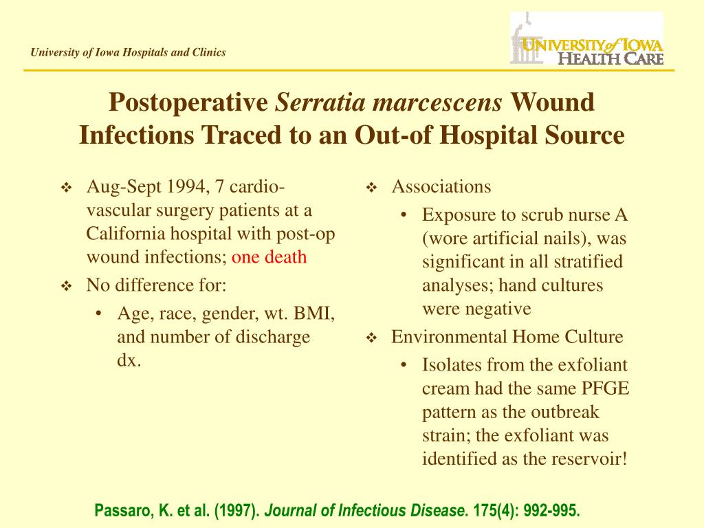Aug-Sept 1994, 7 cardio-vascular surgery patients at a California hospital with post-op wound infections;