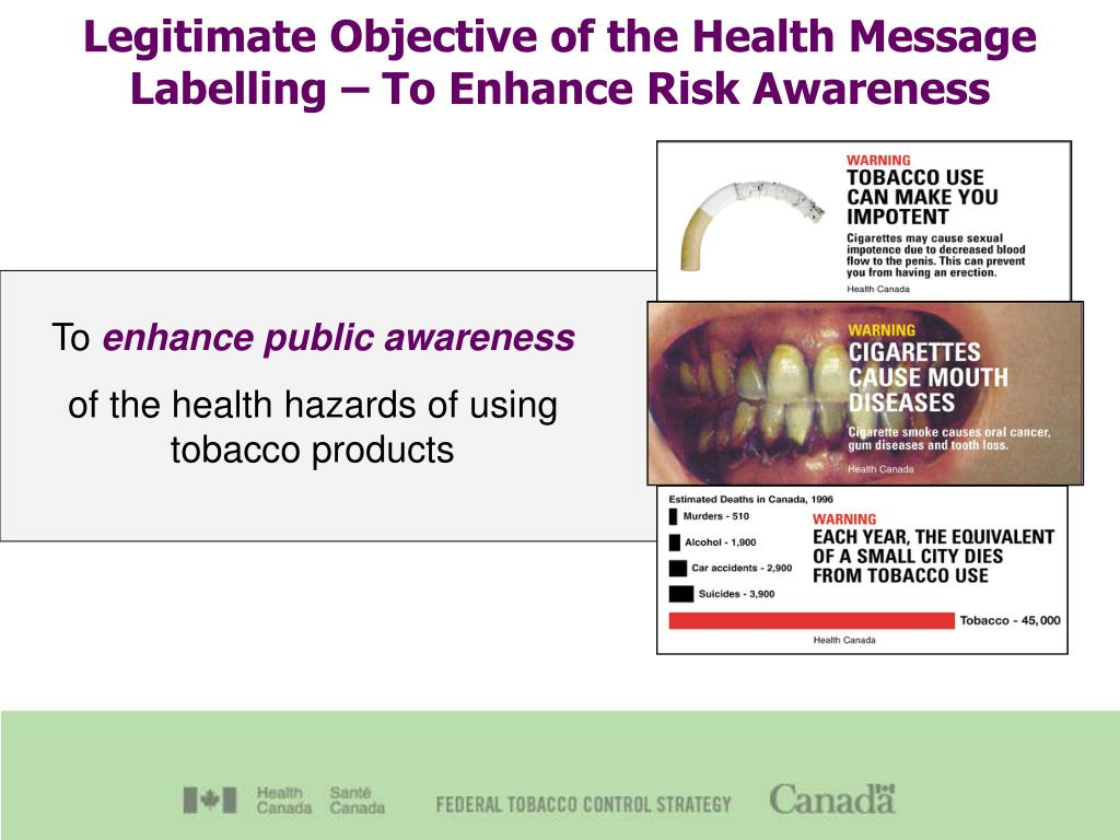 Legitimate Objective of the Health Message Labelling – To Enhance Risk Awareness