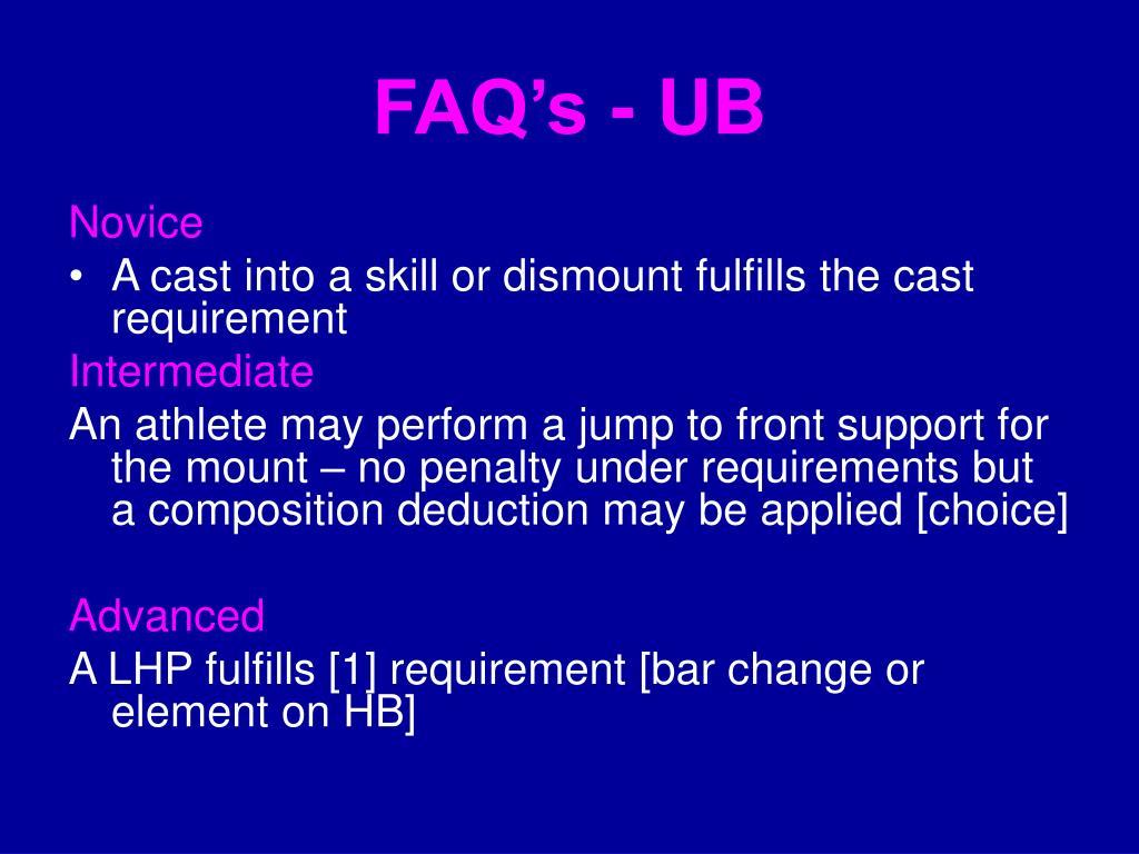 FAQ's - UB