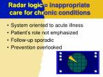 radar logic inappropriate care for chr onic conditions