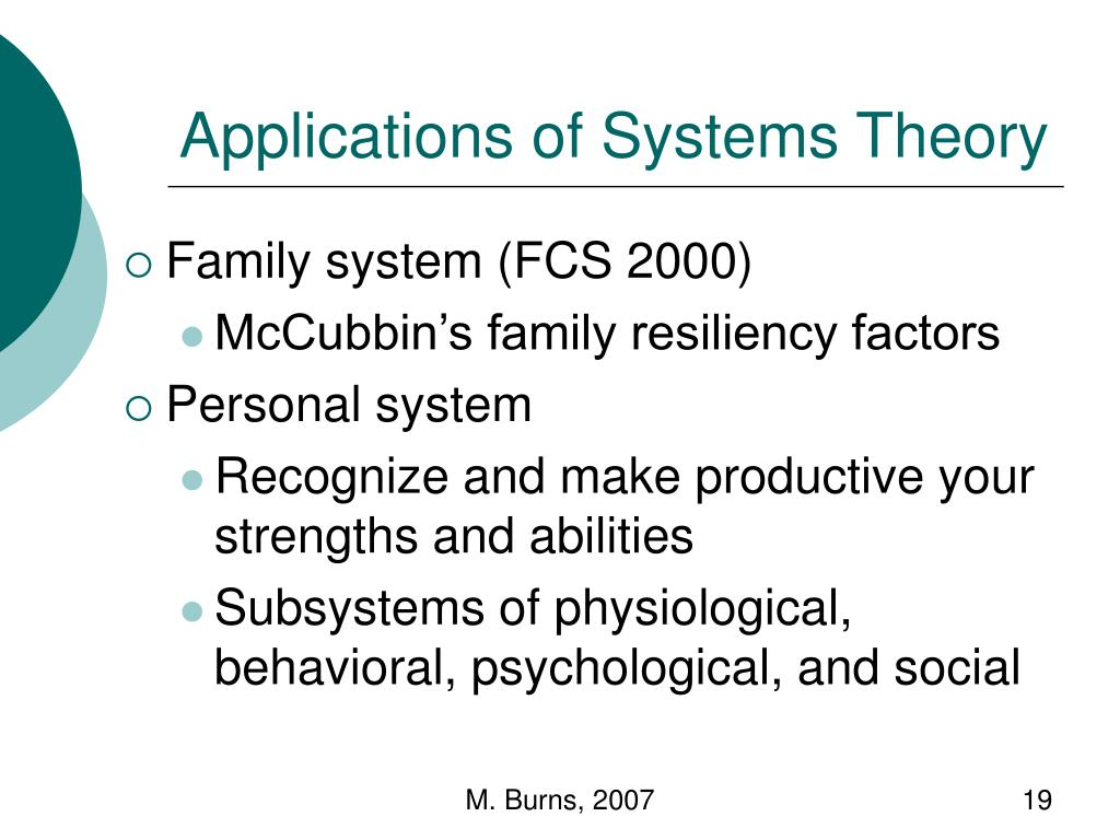 Applications of Systems Theory
