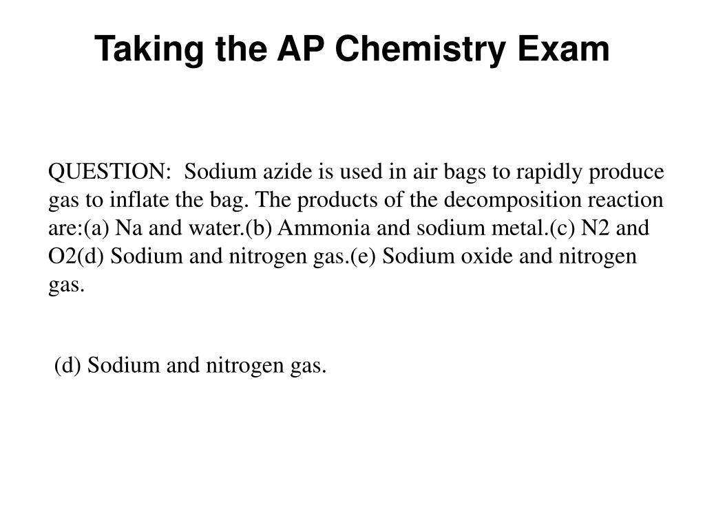 Taking the AP Chemistry Exam