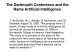 the dartmouth conference and the name artificial intelligence