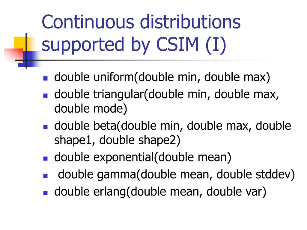 Continuous distributions supported by CSIM (I)