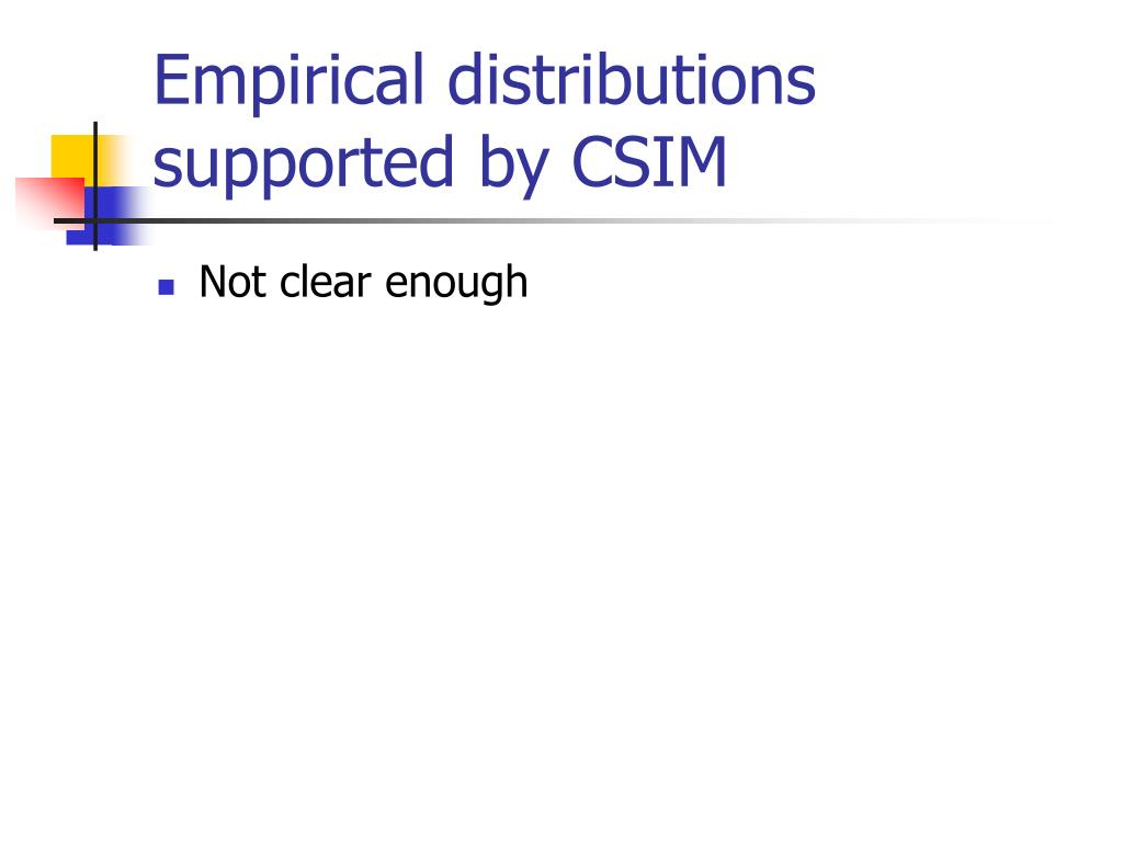 Empirical distributions supported by CSIM