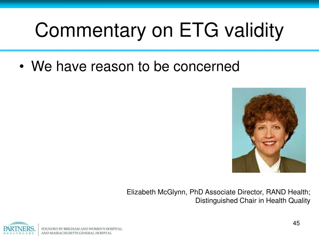 Commentary on ETG validity