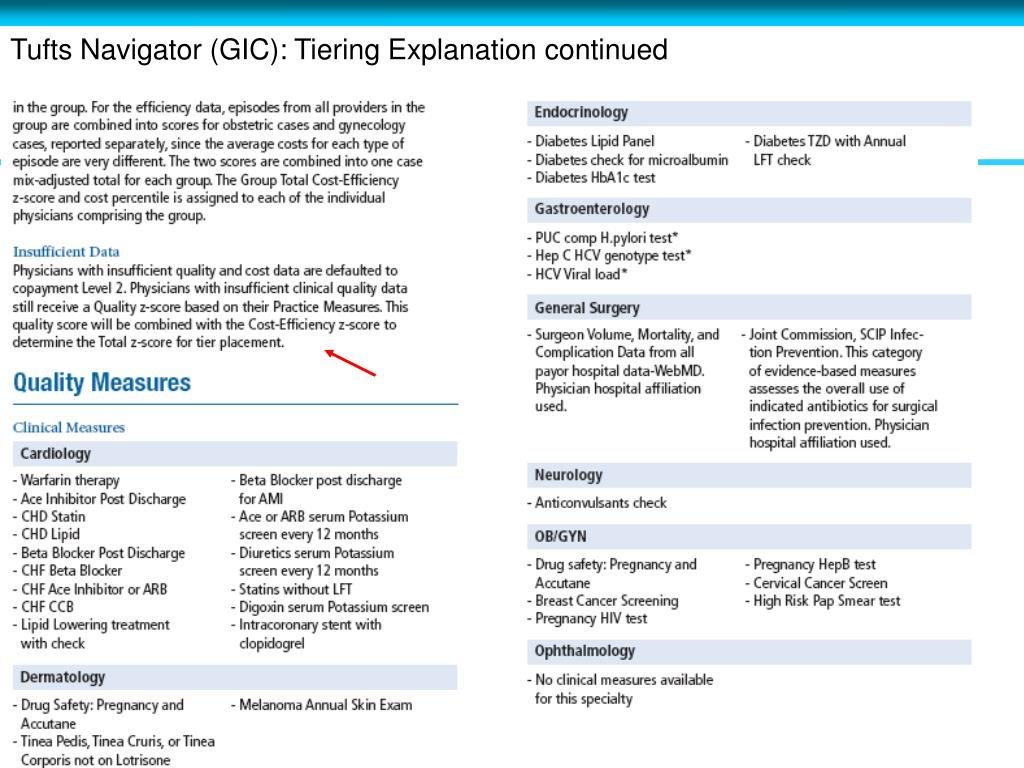 Tufts Navigator (GIC): Tiering Explanation continued