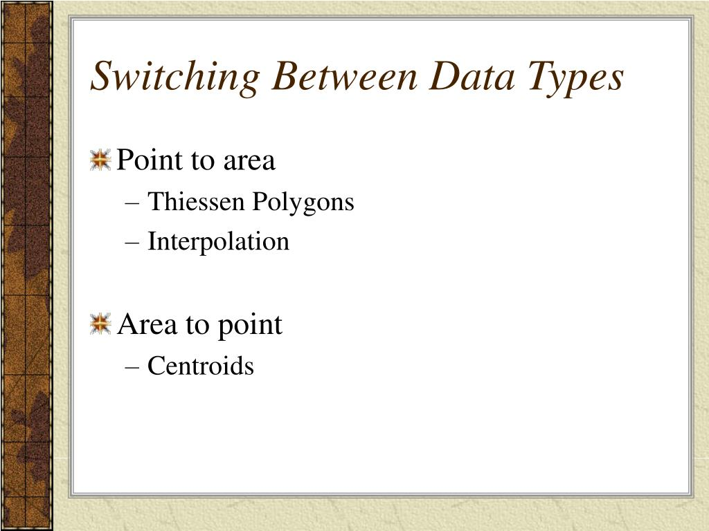 Switching Between Data Types