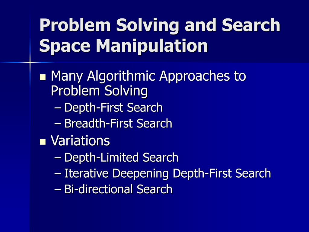 Problem Solving and Search Space Manipulation