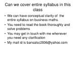 can we cover entire syllabus in this class