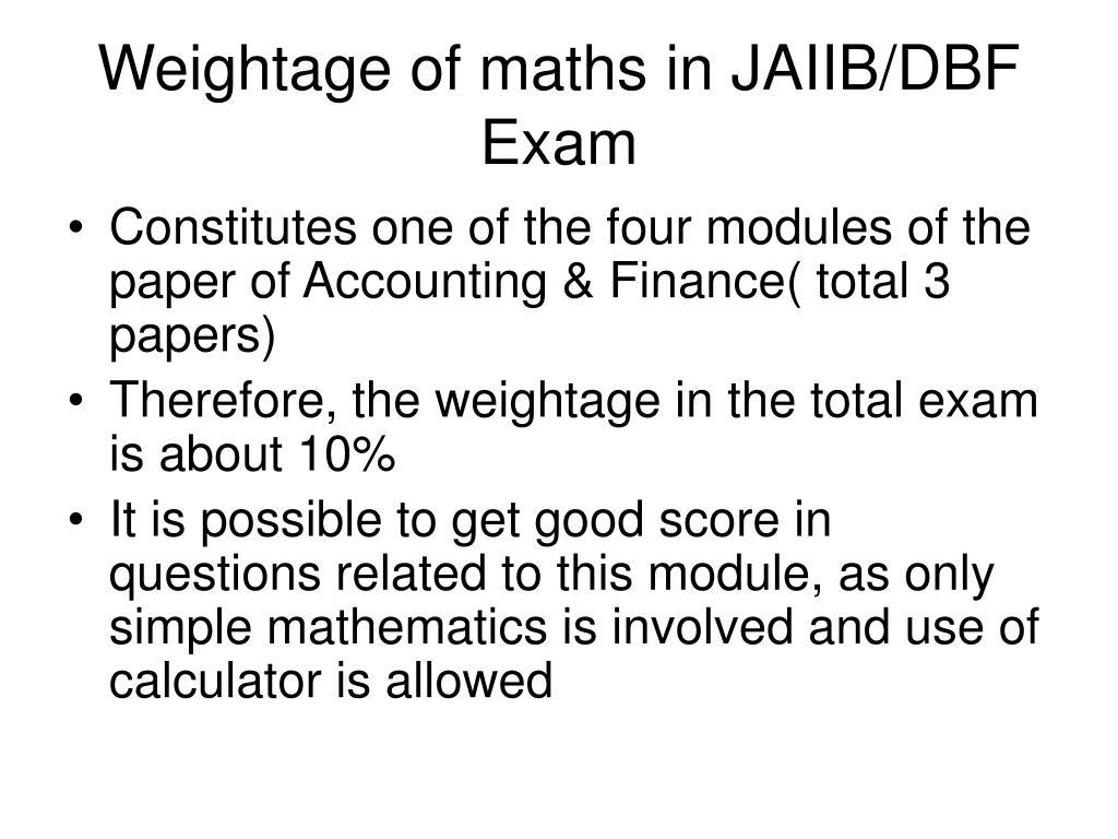 Weightage of maths in JAIIB/DBF Exam