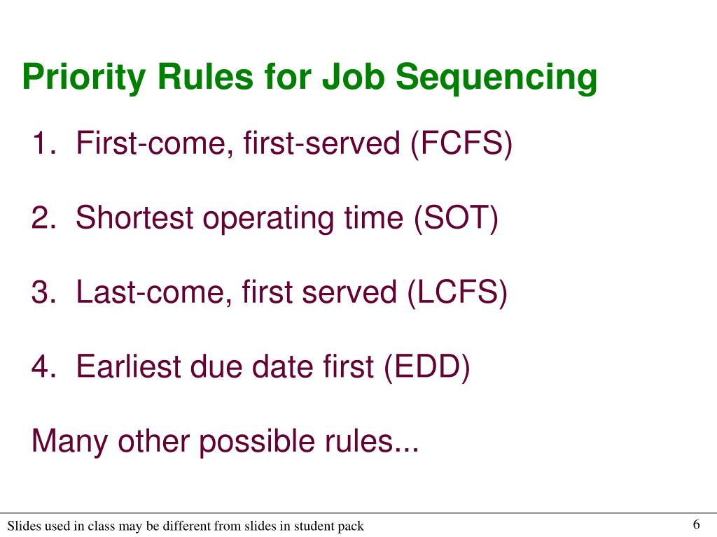 Priority Rules for Job Sequencing