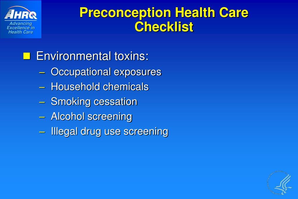 Preconception Health Care Checklist
