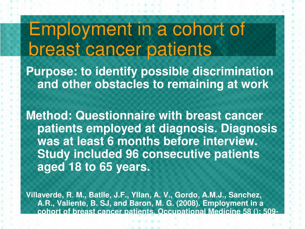 Employment in a cohort of breast cancer patients