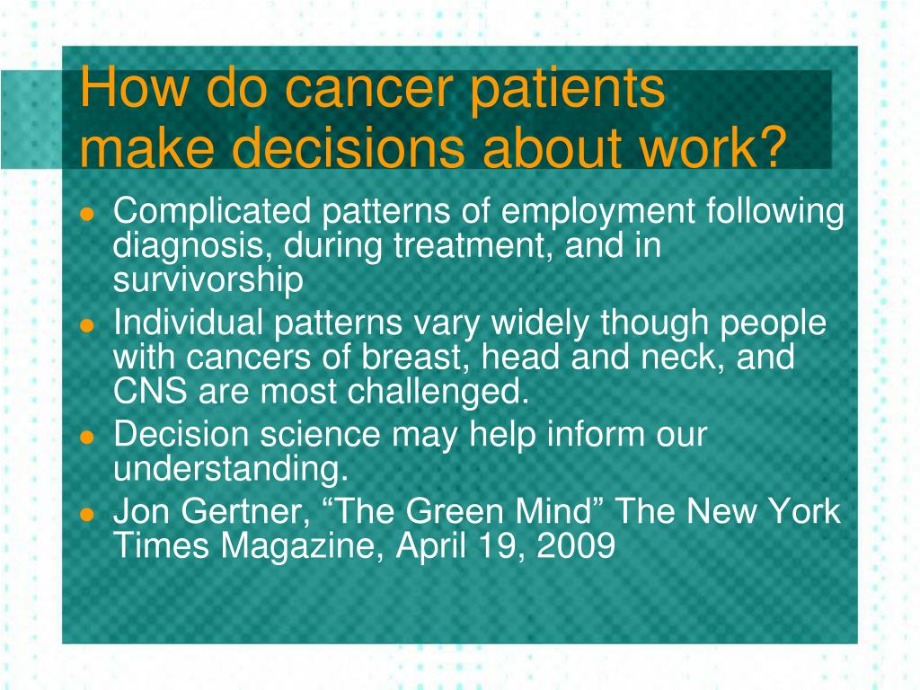 How do cancer patients make decisions about work?