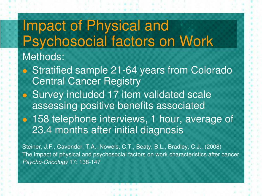 Impact of Physical and Psychosocial factors on Work