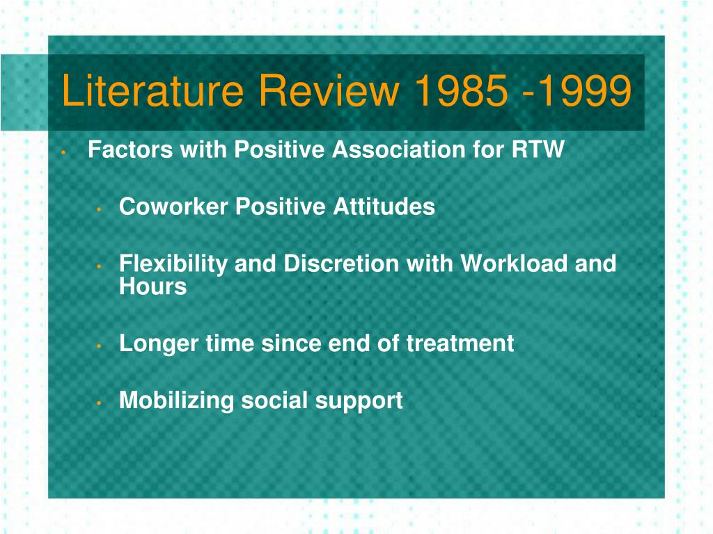 Literature Review 1985 -1999