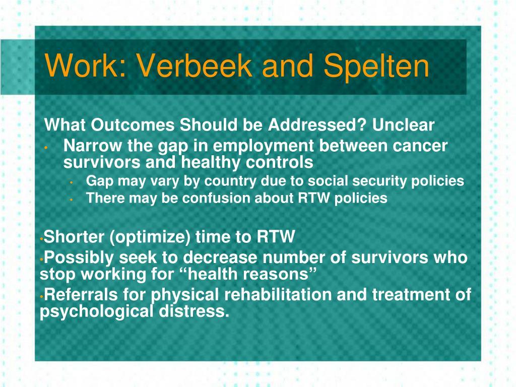 Work: Verbeek and Spelten