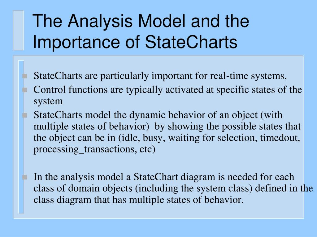 The Analysis Model and the Importance of StateCharts