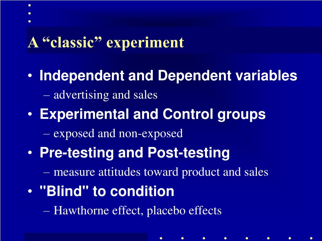 """A """"classic"""" experiment"""