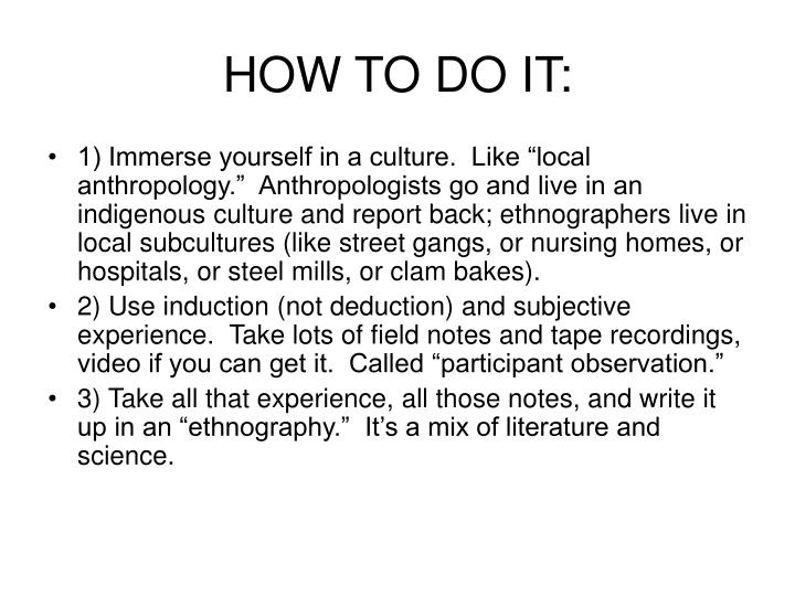 HOW TO DO IT: