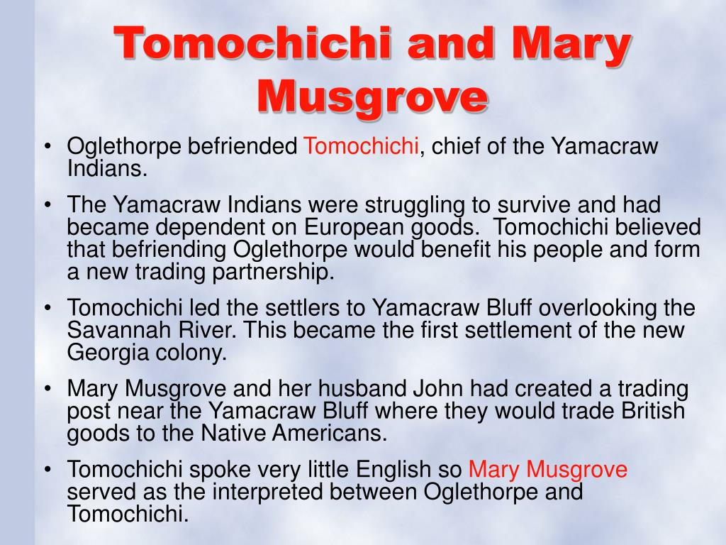 Tomochichi and Mary Musgrove