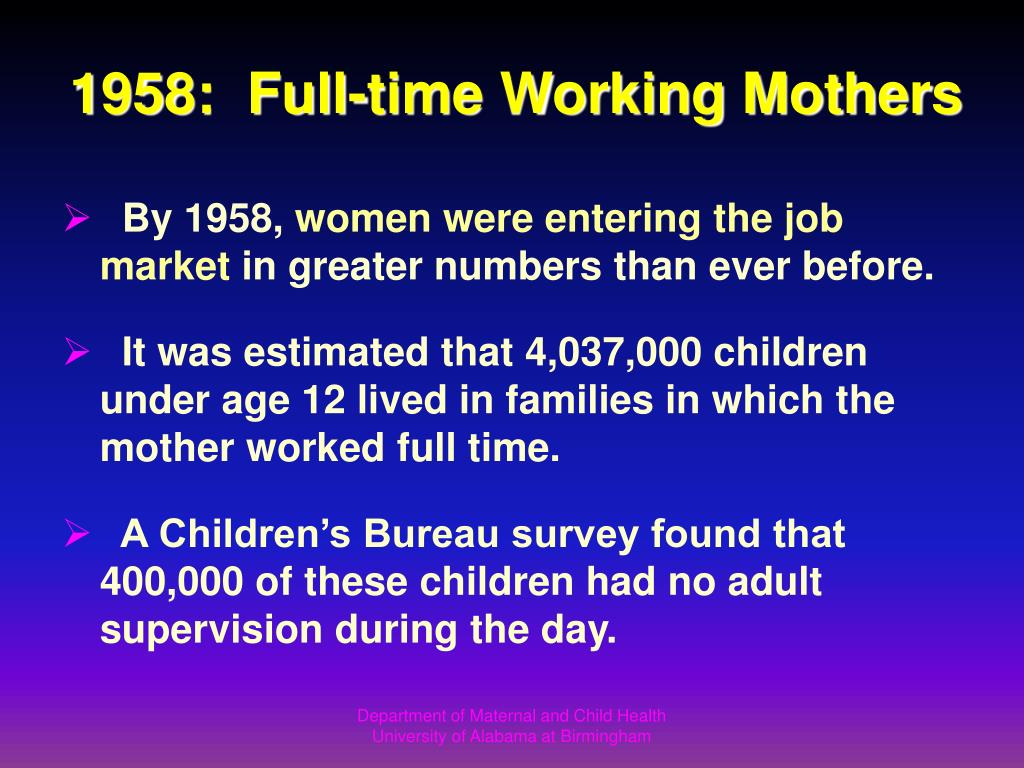 1958:  Full-time Working Mothers