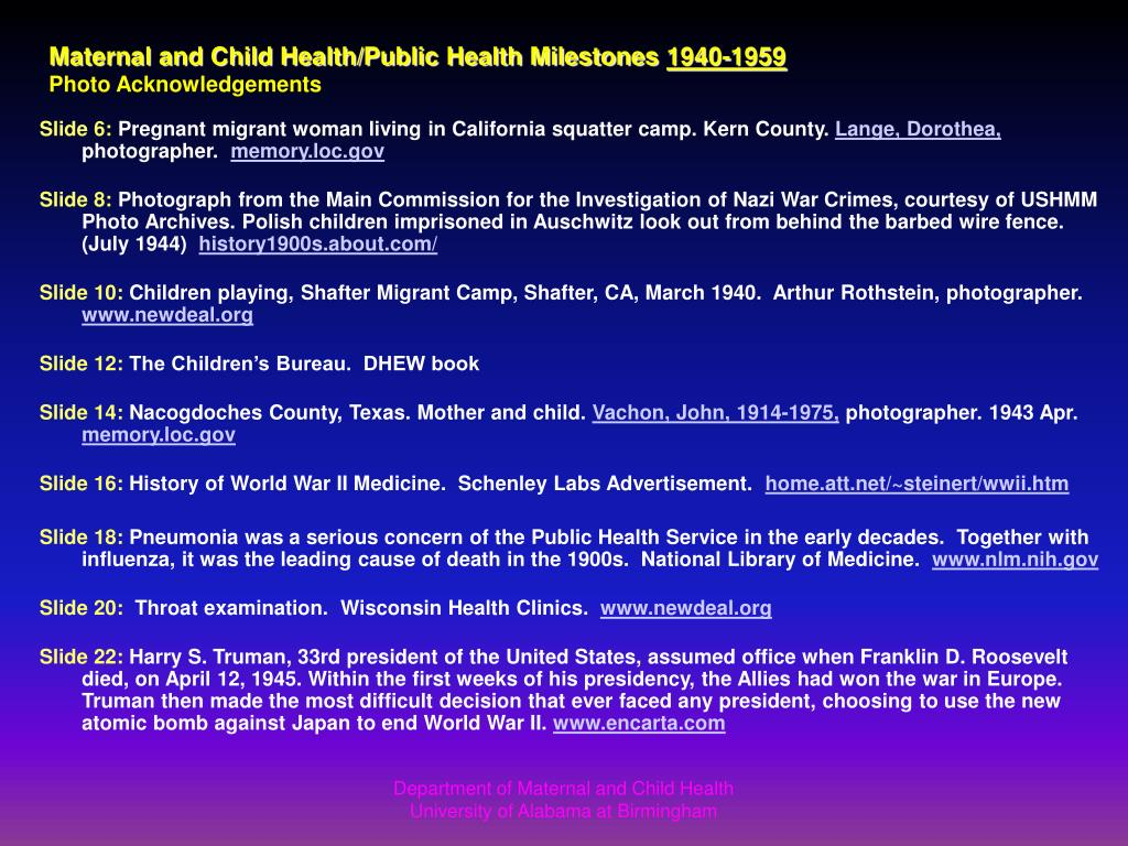 Maternal and Child Health/Public Health Milestones