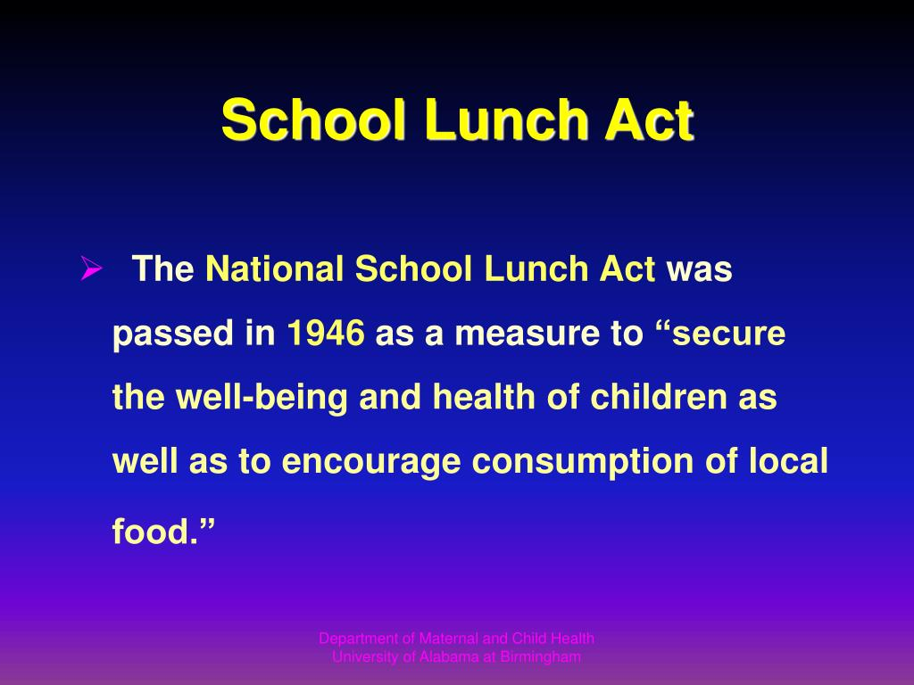 School Lunch Act