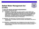 ballast water management act s 363