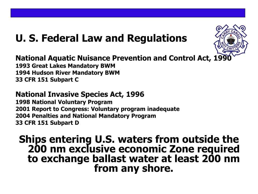 U. S. Federal Law and Regulations