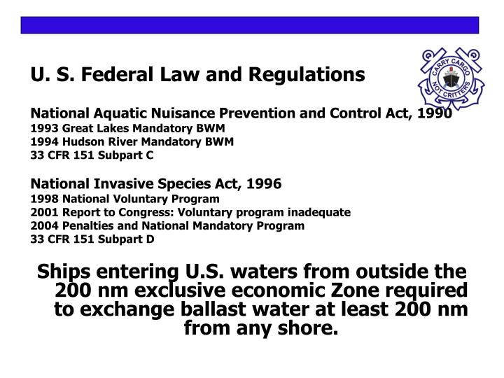 U s federal law and regulations l.jpg