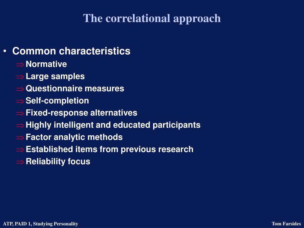 The correlational approach