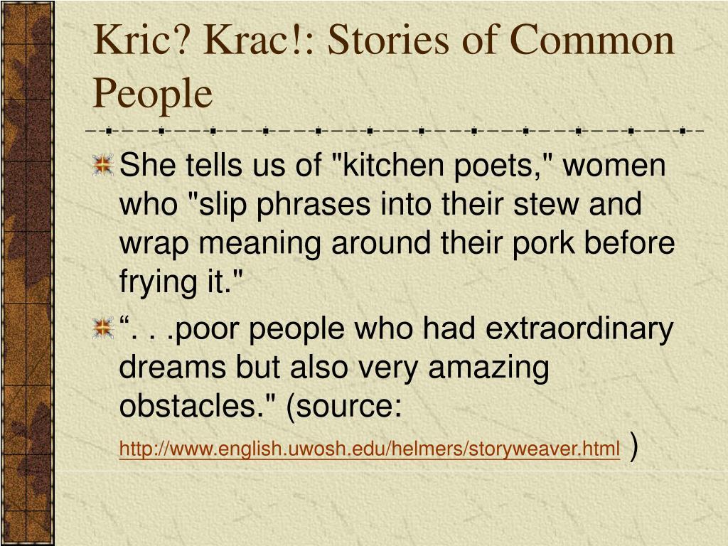 Kric? Krac!: Stories of Common People