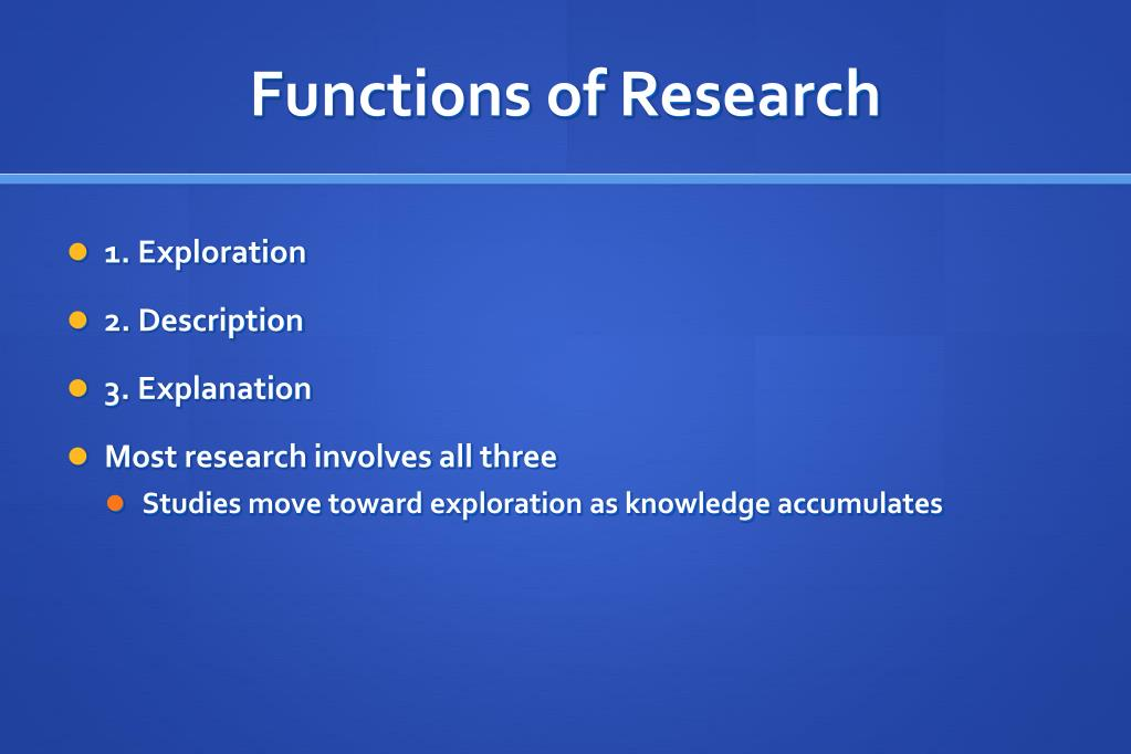 Functions of Research