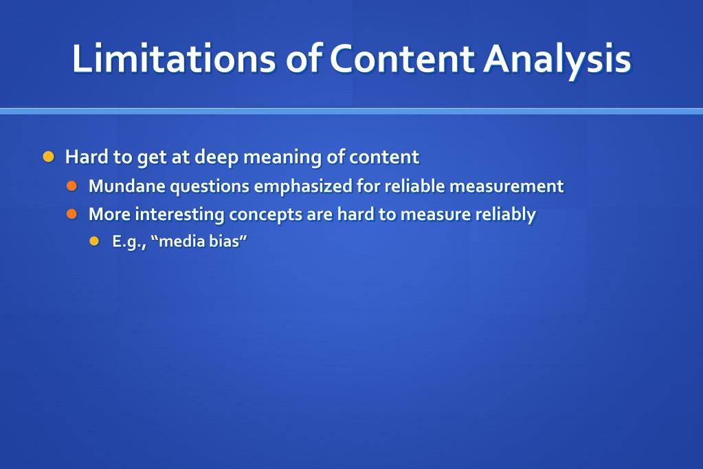 Limitations of Content Analysis