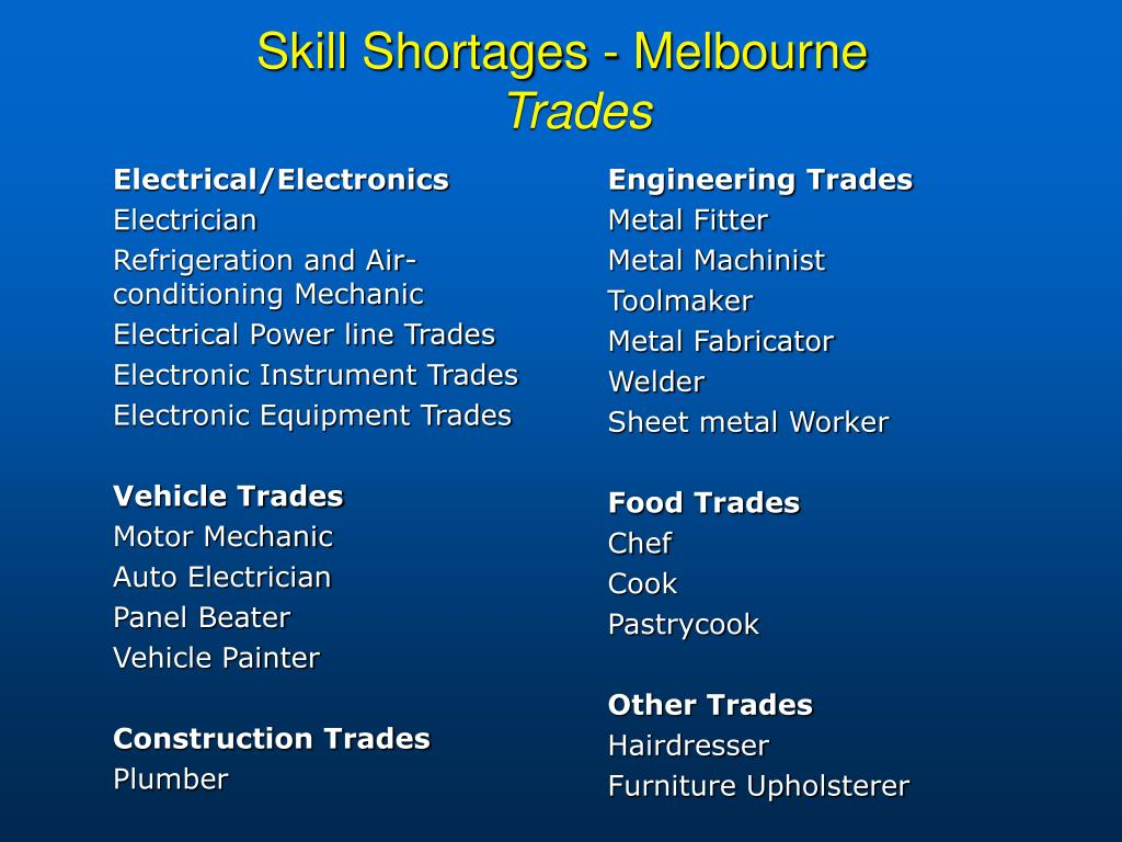 Skill Shortages - Melbourne